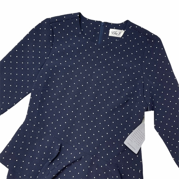 Eliza J Navy Blue Dotted Quarter Sleeve Mini Dress